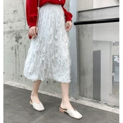 スカート レディース 大きいサイズ 冬 春 Aライン フリル