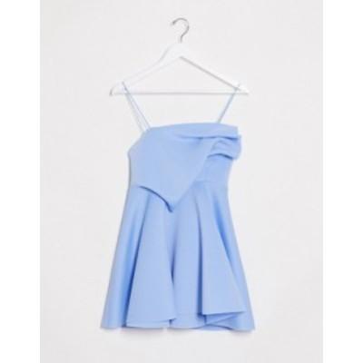 エイソス レディース ワンピース トップス ASOS DESIGN tuck detail cami skater mini dress in powder blue Powder blue