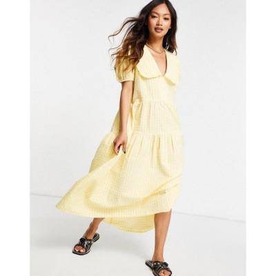ネオンローズ Neon Rose レディース ワンピース Aライン ワンピース・ドレス midi smock dress with oversized collar and tiered skirt in gingham