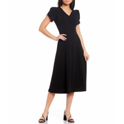 カルバンクライン レディース ワンピース トップス Short Tulip Sleeve V-Neck A-Line Midi Dress Black