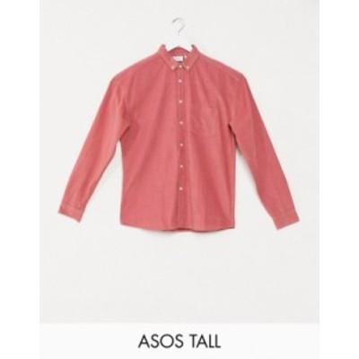 エイソス メンズ シャツ トップス ASOS DESIGN Tall oversized 90s style cord shirt in pink Pink