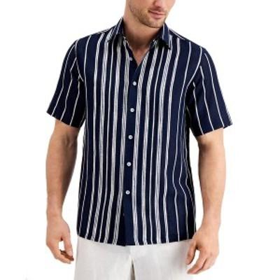 タッソエルバ メンズ シャツ トップス Men's Textured Engineered Stripe Shirt,  Navy Combo