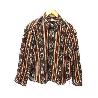【中古】ナイトクラブ NITEKLUB 20AW Finest Shirt フランネル シャツ 長袖 ネイティブ チンストラップ 42 XL 茶 ブラウン K031105 メンズ 【ベクトル 古着】