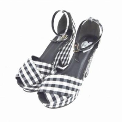 【中古】lillilly サンダル ストラップ 厚底 アンクル チャンキーヒール チェック M 黒 灰 ブラック グレー /TT39