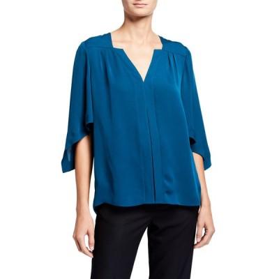エリータハリ レディース シャツ トップス Olympia V-Neck 1/2-Sleeve Silk Shirt