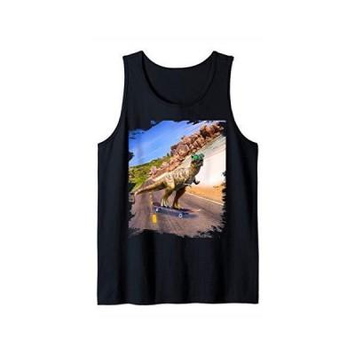 Dinosaur With Sunglasses On Skateboard At Beach Tank Top