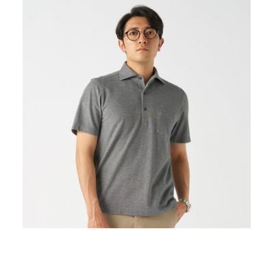メンズ ビズポロ 半袖 ワンピース ワイド  ビジネスポロシャツCOOLMAX(R) グレー×無地調