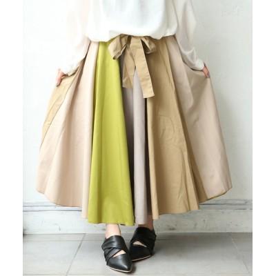 osharewalker / 『ウエストリボン配色ロングスカート』 WOMEN スカート > スカート