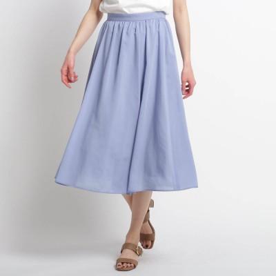 スーナウーナ SunaUna 【洗える】ギャザータックフレアスカート (ライトブルー)