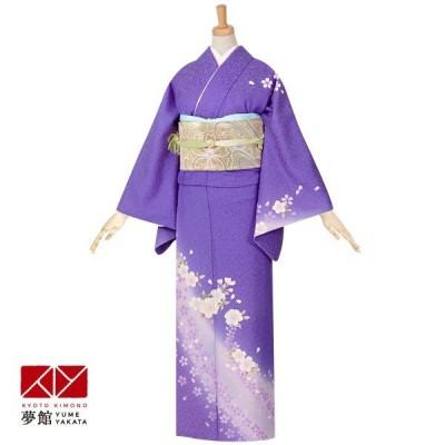 袷 訪問着 レンタル 結婚式 入学式 卒業式 紫ぼかし 枝垂桜 ラメ入 対応身長155〜159cm H378