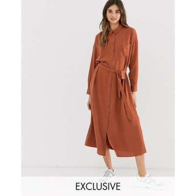 モンキ レディース ワンピース トップス Monki midi belted shirt dress with pockets in rust