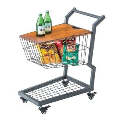 サイドテーブル 買い物カート風 スチールフレーム キャスター付 幅36cm ( 送料無料 ワゴン カゴ 収納 おしゃれ カート テーブル ス