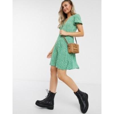 ニュールック レディース ワンピース トップス New look puff sleeve tea dress in green pattern Green pattern