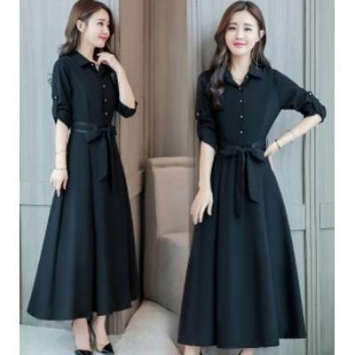 ワンピース 大きいサイズ 3L 4L ワンピース 韓国  ワンピース 40代 30代 ロング丈 袖あり 長袖 黒 赤 青 ブラック レッド ブルー aライン