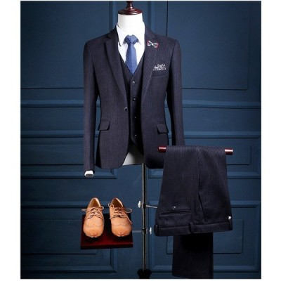 セットアップスーツ スリーピーススーツ ストライプ ビジネススーツ フォーマルスーツ 1つボタン メンズ スーツ 3点セットス 成人式 結婚式 紳士服 入学式