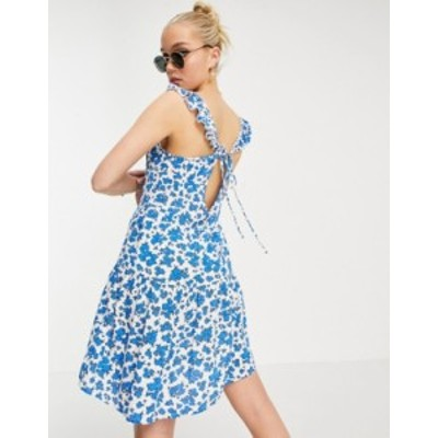 ニュールック レディース ワンピース トップス New Look mini cheesecloth sun dress in blue floral print White pattern