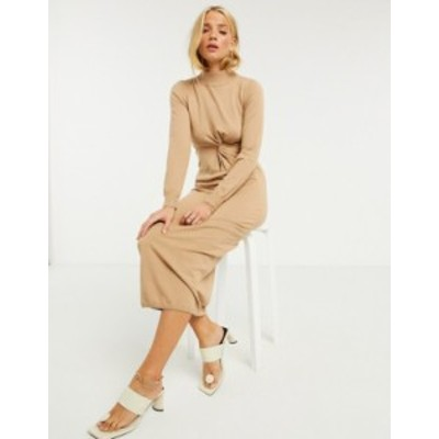 エイソス レディース ワンピース トップス ASOS DESIGN knitted dress with ruched side and cut out detail in tan Tan