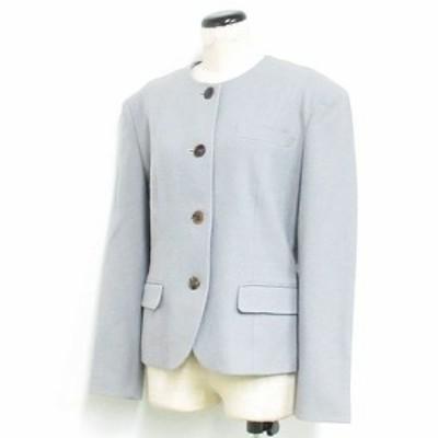 【中古】ヨンドシー 4℃ ジャケット 長袖 ノーカラー ウール グレー ※NK-20985 ※01 レディース