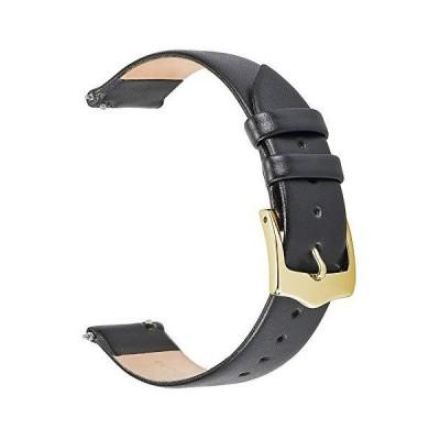 EACHE 20mm ブラックレザー 腕時計バンド レディース クイックリリース 薄型レザー時計ストラップ 滑らかなカーフスキン ゴールドバックル付き
