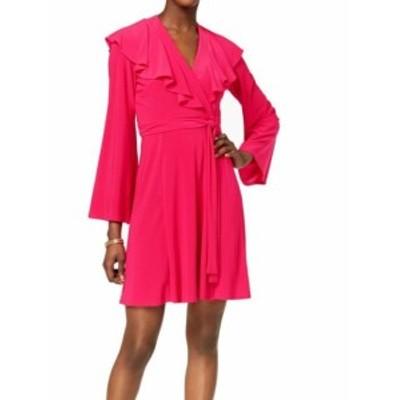 taylor テイラー ファッション ドレス Taylor NEW Fushia Pink Womens Size 14 Ruffled Tie-Waist Wrap Dress