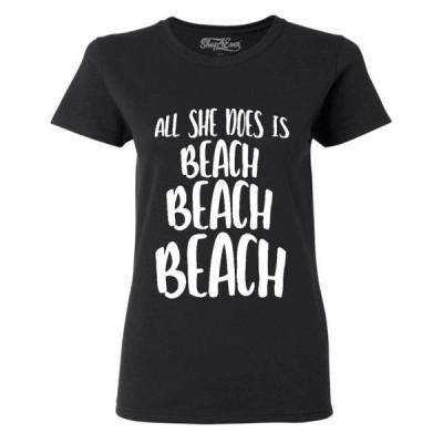 レディース 衣類 トップス Shop4Ever Women's All She Does is Beach Beach Beach Graphic T-Shirt グラフィックティー