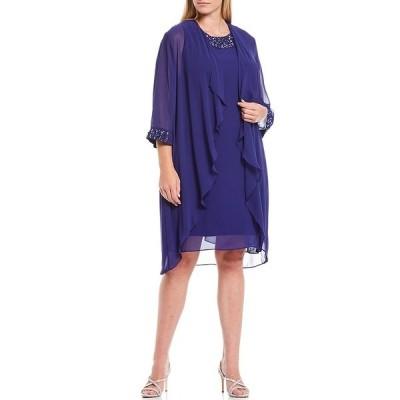 イグナイトイブニングス レディース ワンピース トップス Plus Size Beaded Neck Draped Jacket Dress Iris