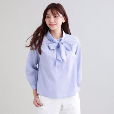 【L】【ウォッシャブル】ストライプシャツ