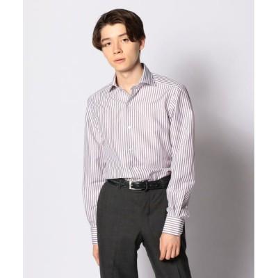 TOMORROWLAND/トゥモローランド コットンリネンブロード ワイドカラー ドレスシャツ NEW WIDE-5 46 ブラウン系 37
