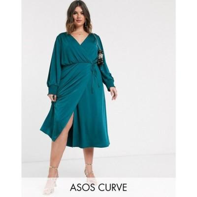 エイソス ASOS Curve レディース ワンピース ラップドレス ミドル丈 ワンピース・ドレス ASOS DESIGN Curve jersey satin wrap midi dress in teal ティール