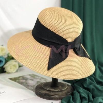 女の子 uvカット ストローハット 日よけ 新作 ハット レディース 麦わら帽子 つば広帽子  2020 リボン帽子 防止 折りたたみ 日焼け対策