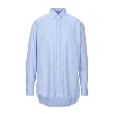 BAGUTTA 柄入りシャツ ファッション  メンズファッション  トップス  シャツ、カジュアルシャツ  長袖 スカイブルー