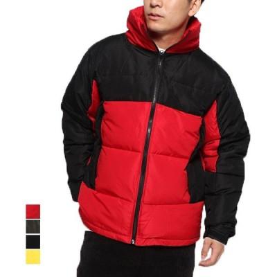 ジャケット ブルゾン ジップアップブルゾン 中綿ジャケット  無地 バイカラー アウター メンズ