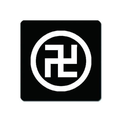 家紋シール 白紋黒地 丸に五つ割り左万字 15cm x 15cm KS15-0526W