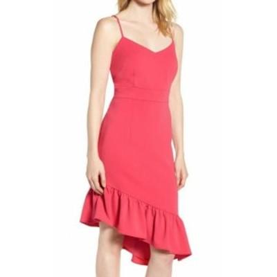 Chelsea28 チェルシートウェンティエイト ファッション ドレス Chelsea28 NEW Pink Womens 2P Petite Flounce Asymmetric Sheath Dress