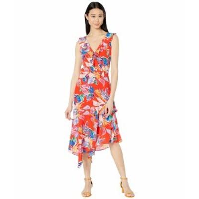 ミリー レディース ワンピース トップス Bouquet Floral Silk Crepe De Chine Alexis Dress Red Multi