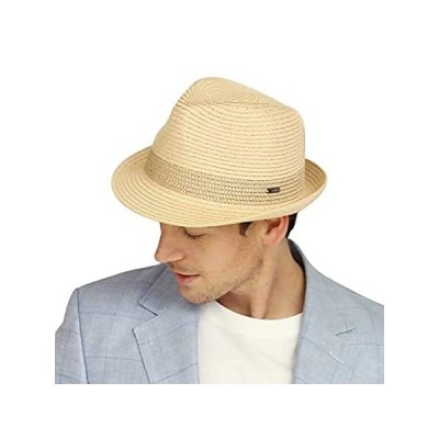 Jeff & Aimy Summer Straw Fedora Panama Beach Sun Hat Adjustable Travel Golf