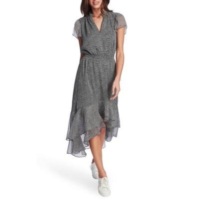 ワンステイト レディース ワンピース トップス Mosaic Ditsy Short Sleeve Ruffled High/Low Dress BLACK/ SOFT ECRU