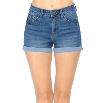 ジーンズ インポート レディース   Medium Wash Wax Women's Juniors Push Up High Rise Shorts Denim Short Pants(S L)#90149