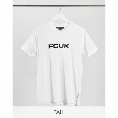 フレンチコネクション French Connection メンズ Tシャツ トップス Tall FCUK logo t-shirt in white ホワイト