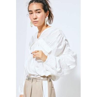 ROSE BUD/ローズ バッド ジャカード2ポケットダブルVネックシャツ ホワイト -