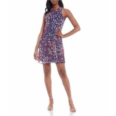 カルバンクライン レディース ワンピース トップス Sleeveless Round Neck Floral Dress Indigo/Berry Multi