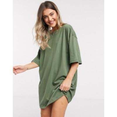 エイソス レディース ワンピース トップス ASOS DESIGN oversized t-shirt dress in khaki Khaki