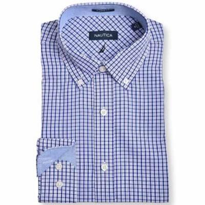 ナウティカ メンズ シャツ トップス Men's Slim Fit Plaid Dress Shirt White, Dark Blue