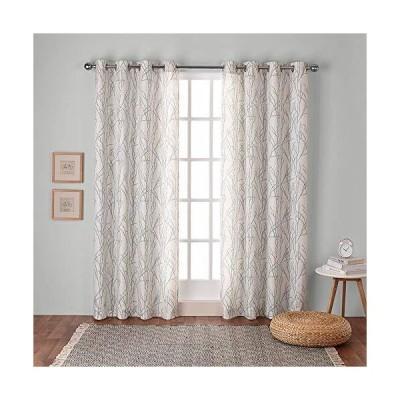 Exclusive Home Curtains ブランチ リネンブレンド ウィンドウカーテンパネル ペア グロメットトップ 54 x 84インチ シー