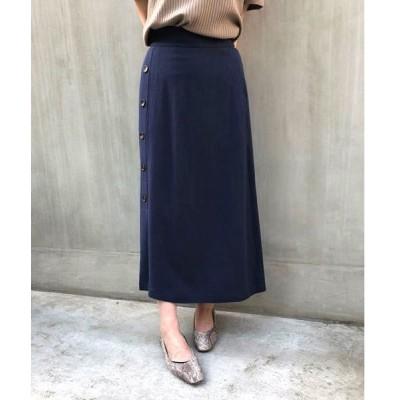 スカート 【WEB限定】サイド釦麻調フレアスカート