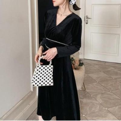 レディースファッション ゴールドベルベットドレス2020新しい春と夏のファッショントレンドVネック長袖ドレス緩い大きいサイズの婦人服