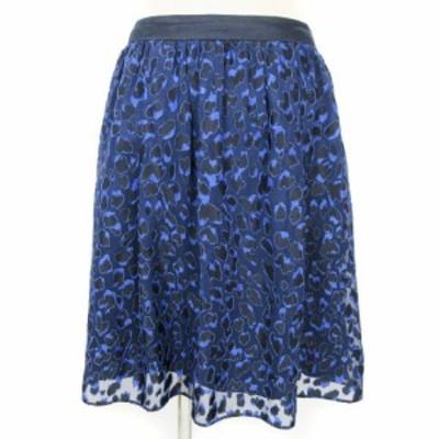 【中古】アンタイトル UNTITLED フレア スカート ギャザー ひざ丈 紺 ネイビー系 2 レディース