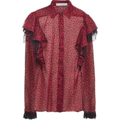 フィロソフィ ディ ロレンツォ セラフィニ PHILOSOPHY di LORENZO SERAFINI レディース ブラウス・シャツ lace-trimmed ruffled leopard-print voile shirt