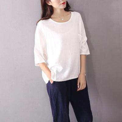 Tシャツ レディース おしゃれ 半袖 安い 無地 カットオフ 春 夏 コットン スラブTシャツ 白  ホワイト ラウンドネック ゆったり コットンリネン