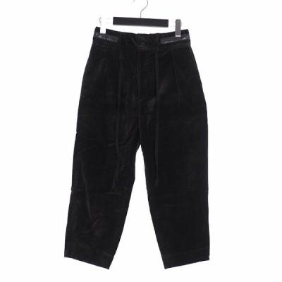 【中古】ダイエットブッチャースリムスキン DIET BUTCHER SLIM SKIN 18AW drawstring cropped pants ベルベット テーパードワイドパンツ 1 カーキ D183P540